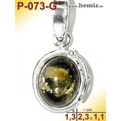 P-073-G Amber Pendant, Amber jewelry, silver-925