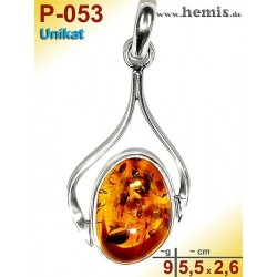 P-053 Amber Pendant, silver-925 Color: cognac Unique, Oval,