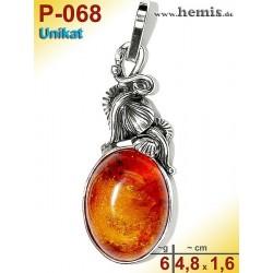 P-068 Amber Pendant, silver-925 Color: cognac Unique, Oval,