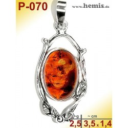 P-070 Amber Pendant, silver-925 Color: cognac Oval, rustic