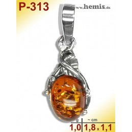 P-313 Amber Pendant, silver-925 Color: cognac oval, rustic