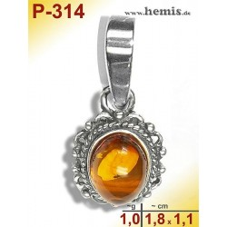 P-314 Amber Pendant, silver-925 Color: cognac oval, rustic