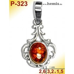 P-323 Amber Pendant, silver-925 Color: cognac oval, rustic