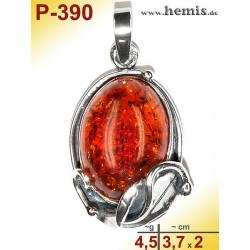 P-390 Amber Pendant, silver-925 Color: cognac oval, rustic