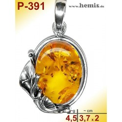 P-391 Amber Pendant, silver-925 Color: cognac oval, rustic
