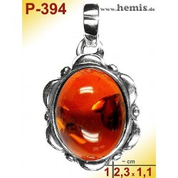P-394 Amber Pendant, silver-925 Color: cognac oval, rustic