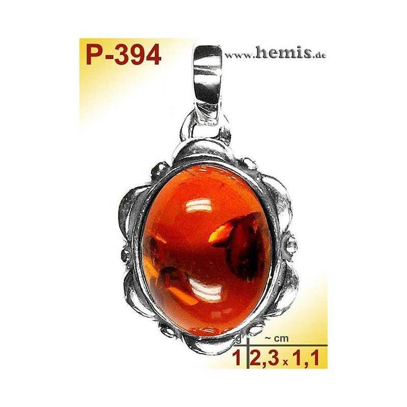 P-394 Amber Pendant, silver-925 Color: cognac oval, rustic
