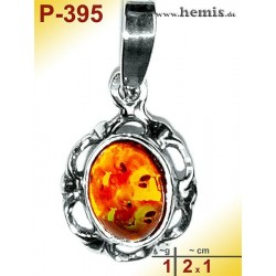 P-395 Amber Pendant, silver-925 Color: cognac oval, rustic