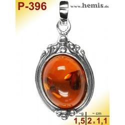 P-396 Amber Pendant, silver-925 Color: cognac oval, rustic