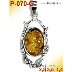 P-070-G Amber Pendant, silver-925 Color: green, oval, rustic