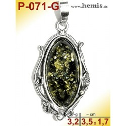 P-071-G Amber Pendant, silver-925 Color: green, oval, rustic