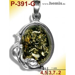P-391-G Amber Pendant, silver-925 Color: green, oval, rustic