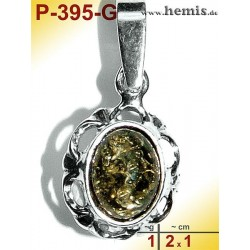 P-395-G Amber Pendant, silver-925 Color: green, oval, rustic