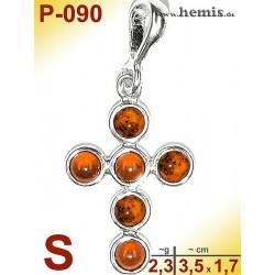 P-090 Bernstein-Anhänger Silber-925, Farbe cognac, Kreuz, S, mod