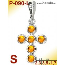 P-090-L Amber Pendant, silver-925 Color: yellow, cross, S, moder