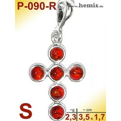 P-090-R Amber Pendant, silver-925 red, cross, S, modern