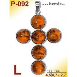 P-092 Bernstein-Anhänger Silber-925, cognac, Kreuz, L, modern
