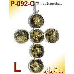 P-092-G Amber Pendant, silver-925 green, cross, L, modern