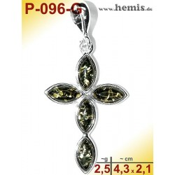 P-096-G Amber Pendant, silver-925 green, cross, modern
