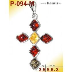 P-094-M Amber Pendant, silver-925 multicolor, cross, modern