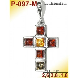 P-097-M Amber Pendant, silver-925 multicolor, cross, modern