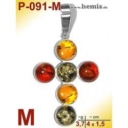 P-091-M Bernstein-Anhänger Silber-925, multicolor, Kreuz, M, mod