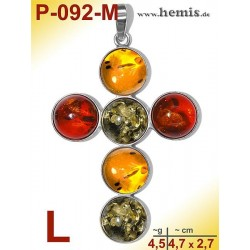 P-092-M Amber Pendant, silver-925 multicolor, cross, L, modern