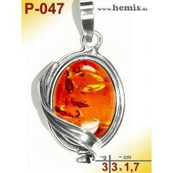 P-047 Amber Pendant, silver-925 cognac, oval, S, modern