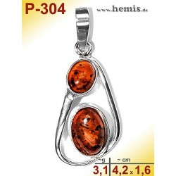 P-304 Amber Pendant, silver-925 cognac, oval, M, modern