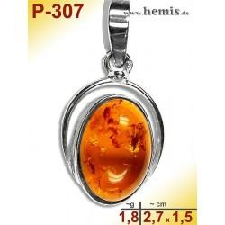 P-307 Amber Pendant, silver-925 cognac, oval, S, modern