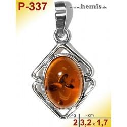 P-337 Amber Pendant, silver-925 cognac, oval, S, modern