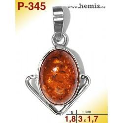P-345 Amber Pendant, silver-925 cognac, oval, S, modern