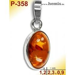 P-358 Amber Pendant, silver-925 cognac, oval, S, modern