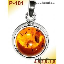 P-101 Amber Pendant, silver-925 cognac, round, S, modern