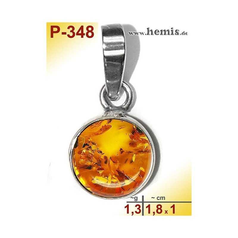 P-348 Amber Pendant, silver-925 cognac, round, S, modern
