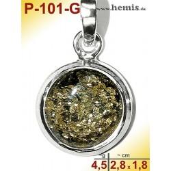 P-101-G Amber Pendant, silver-925 green, round, S, modern
