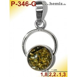 P-346-G Amber Pendant, silver-925 green, round, S, modern