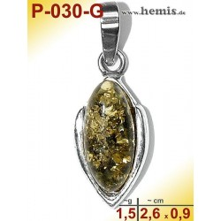 P-030-G Amber Pendant, silver-925 green, oval, S, modern