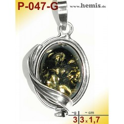 P-047-G Amber Pendant, silver-925 green, oval, S, modern