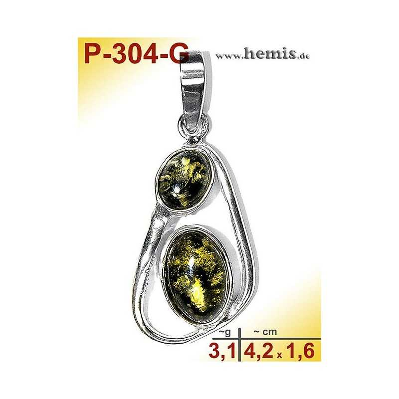 P-304-G Amber Pendant, silver-925 green, oval, M, modern