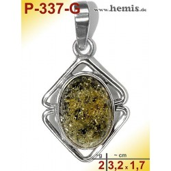 P-337-G Amber Pendant, silver-925 green, oval, S, modern