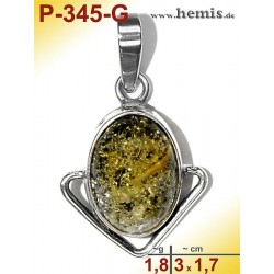 P-345-G Amber Pendant, silver-925 green, oval, S, modern
