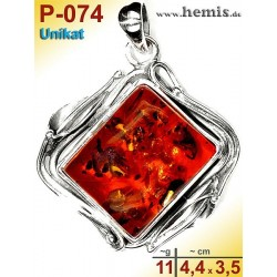 P-074 Bernstein-Anhänger Silber-925, cognac, Unikat, Viereck,  M