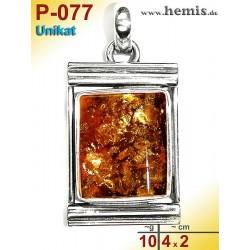 P-077 Amber Pendant, silver-925, cognac, unique, angular, M,