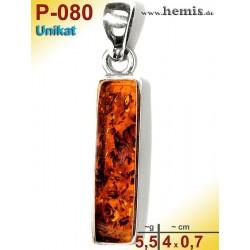 P-080 Amber Pendant, silver-925, cognac, unique, angular, M,