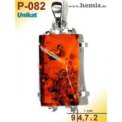 P-082 Bernstein-Anhänger Silber-925, cognac, Unikat, Viereck,  M