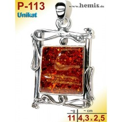 P-113 Bernstein-Anhänger Silber-925, cognac, Unikat, Viereck,  M