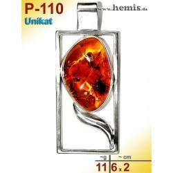 P-110 Amber Pendant, silver-925, cognac, unique, angular, L,
