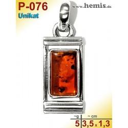 P-076 Amber Pendant, silver-925, cognac, unique, angular, S,