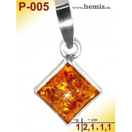 P-005 Amber Pendant, silver-925, cognac, angular, XS, modern